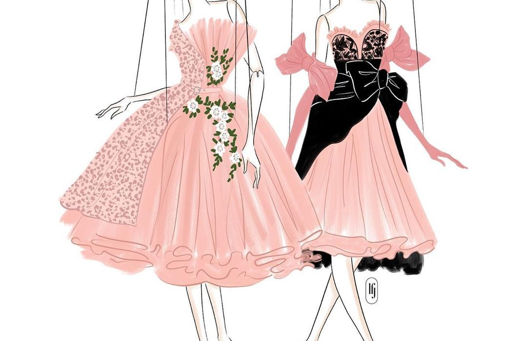 Illustration of models as puppets in Moschino SS21 show