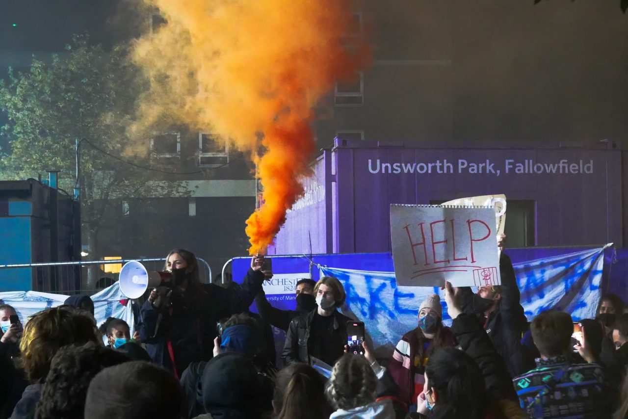 Students protest fences at Fallowfield Campus