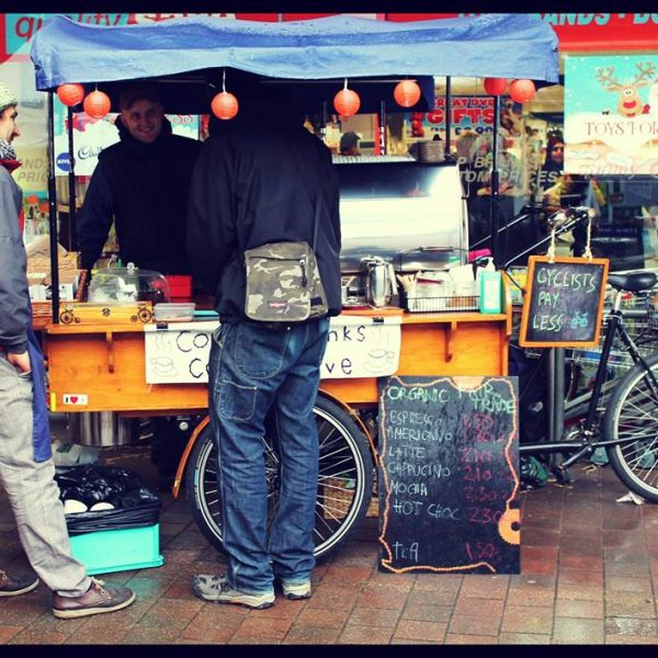 The Coffee Cranks Cooperative sell ethically sourced tea, coffee and snacks from their purpose-built cargo bike. Photo: Coffee Cranks Cooperative