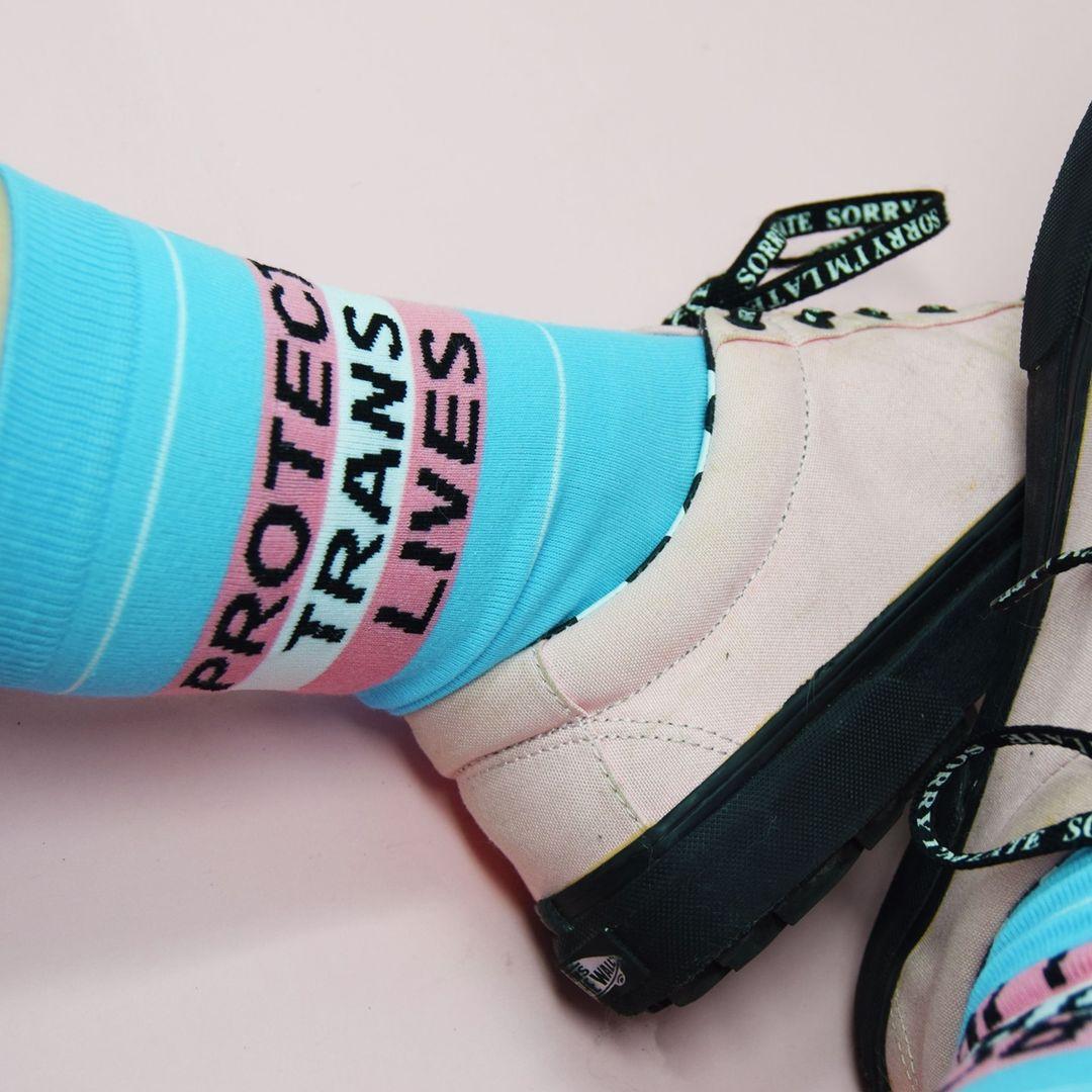 Protect trans lives flag socks