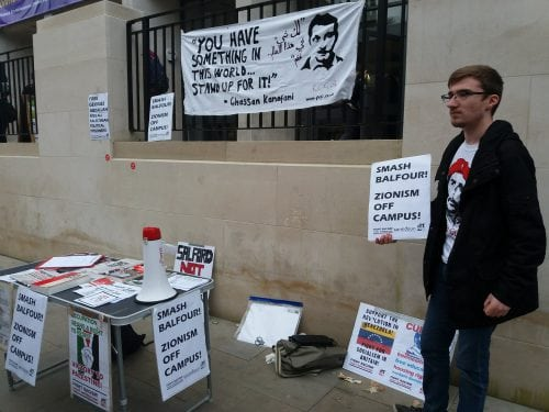 Balfour celebrations on campus protest. Photo: Hana Jafar