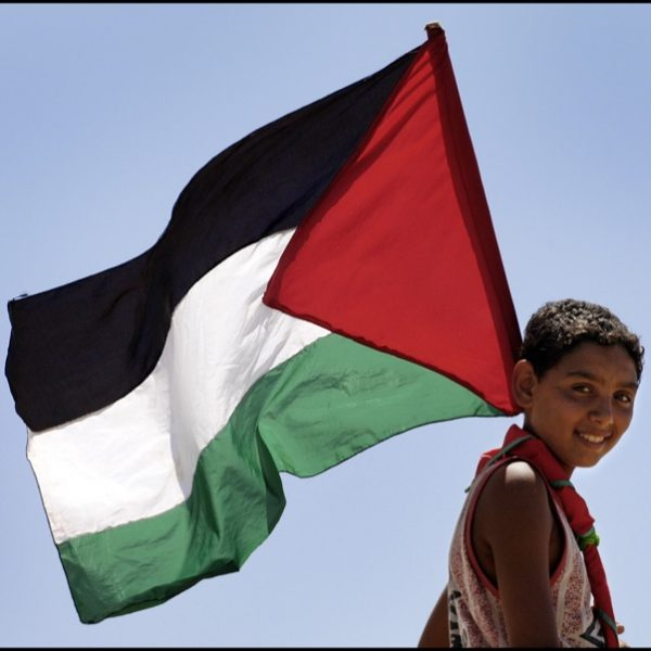 A child carries the flag of Palestine. Photo: rustystewart @Flickr