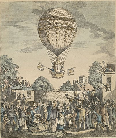 A view of the balloon of Mr. Sadler's ascending. Print illustrating Sadler's ascent on 12 August 1811. Photo: Wikimedia Commons