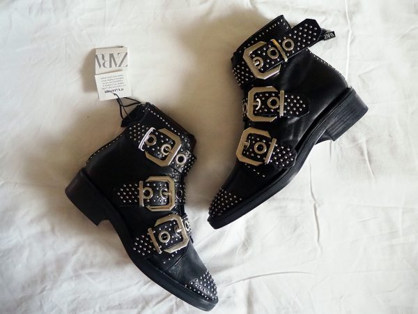 Zara black leather boots with buckles and silver studs