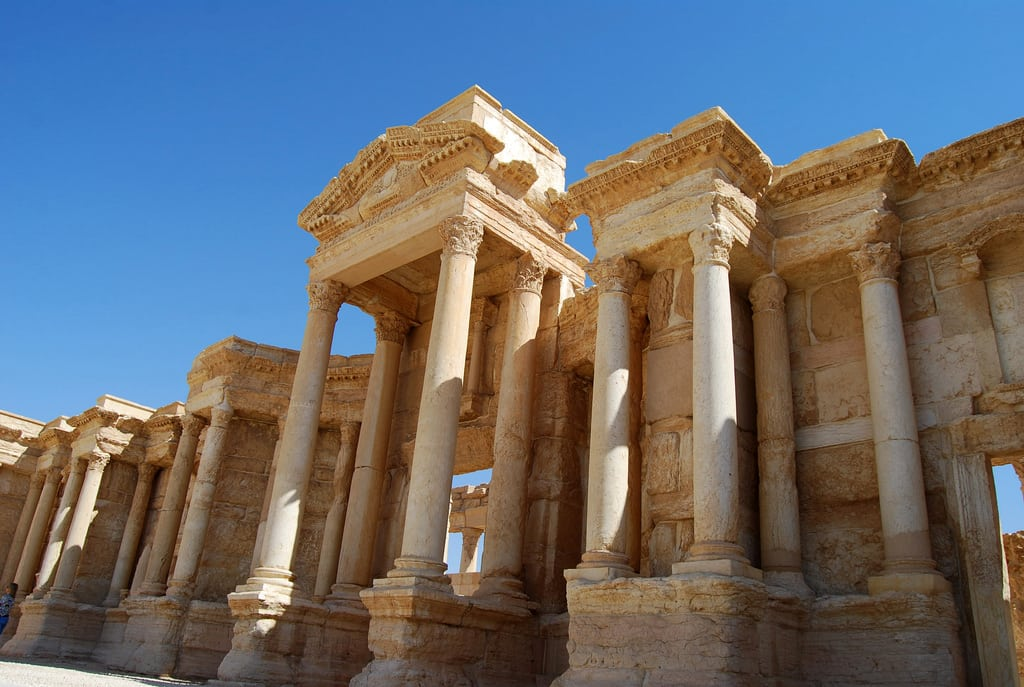 Façade to the Greco-Roman theatre at Palmyra—one of the best preserved pieces of Classical-meets-near-Eastern architecture yet to be destroyed by ISIS. Photo: Flickr @ Alessandra Kocman