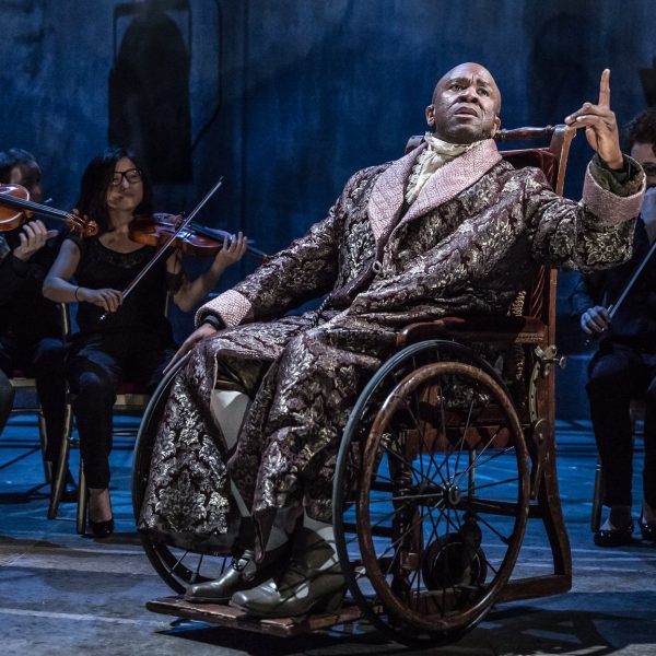 Lucian Msamati as the composer Antonio Salieri with the Southbank Sinfonia. Photo: Marc Brenner