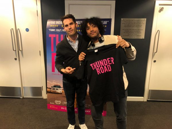 Writer Luca Mariani posing with director, producer and star of Thunder Road, Jim Cummings