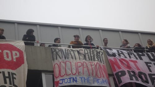 University of Sussex' students occupying the university's conference centre in a stand against privatisation. (Photo: DanielJPHadley @flickr)