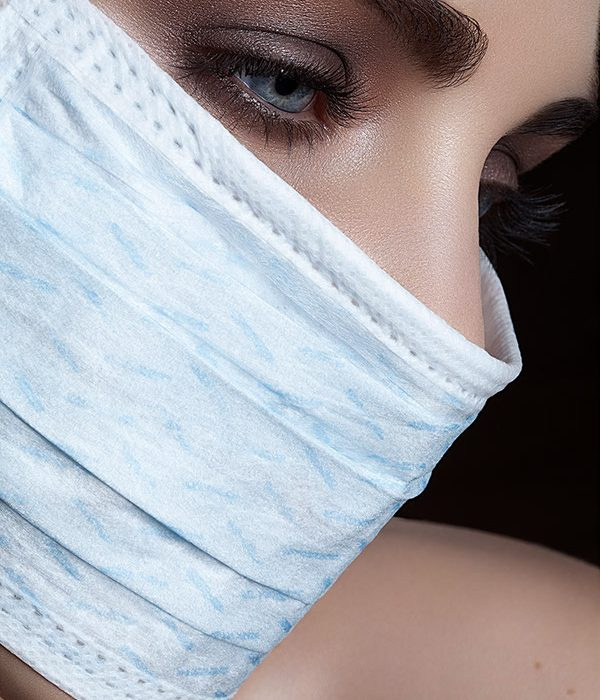 model in surgical mask
