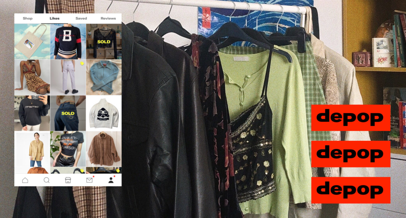 depop secondhand clothing rail and Instagram feed collage