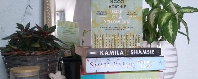 Photo of Half of a Yellow Sun on a stack of other books
