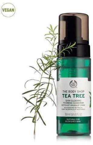 The Body Shop's Tea Tree Skin Clearing Foaming Cleanser  skincare freshers