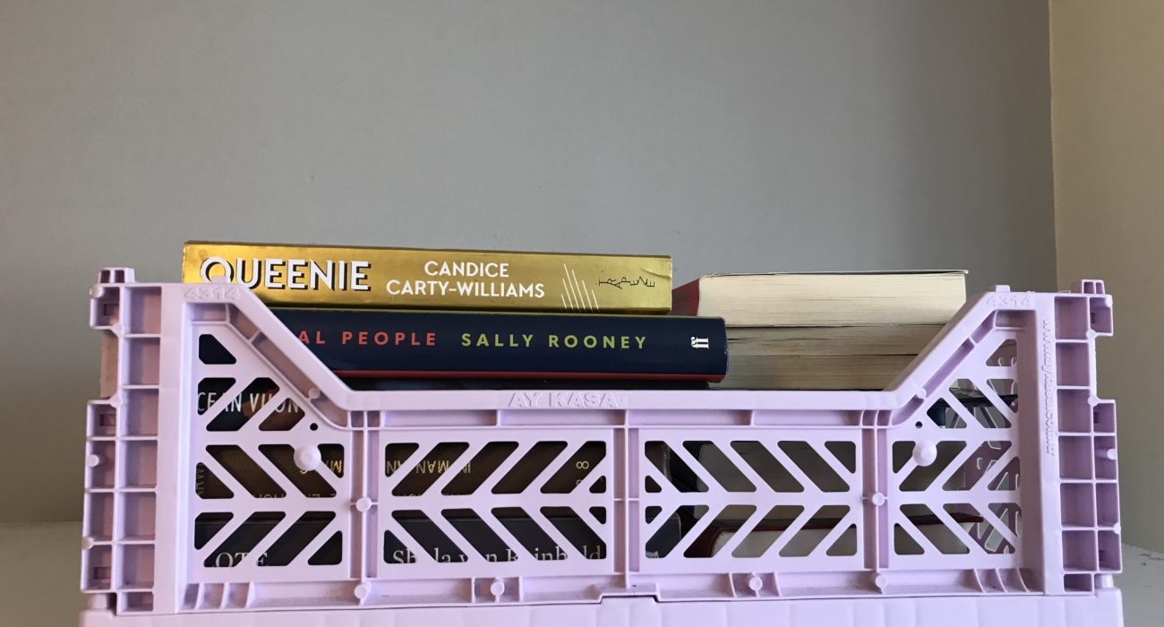 Hay crate books storage solution