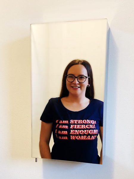 Terri-Anne wearing one of her tur-shirt designs
