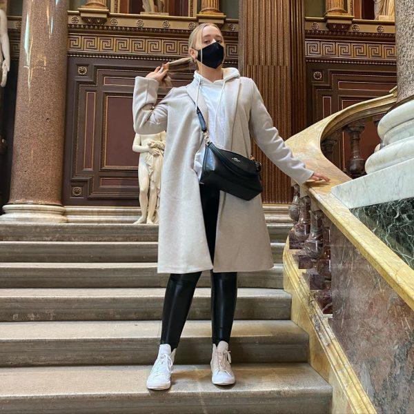 Woman wearing silk face mask