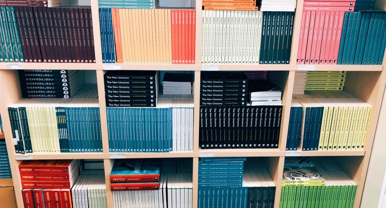 Comma Press publishing house bookshelves
