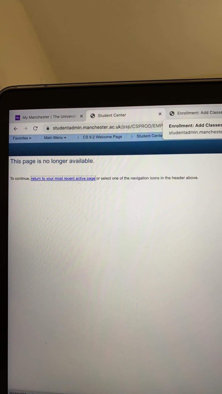 Page unavailable on Manchester university's student system