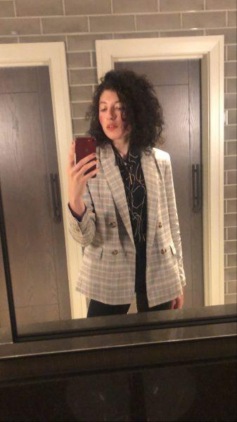 Grey check blazer and shirt combination