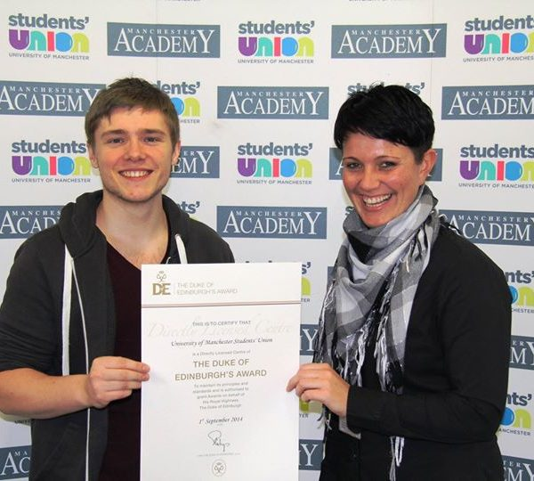 University of Manchester Duke of Edinburgh's Award Society President Sean Ruane collected the license. Photo: University of Manchester Students' Union