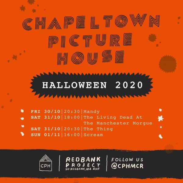 Orange background featuring a halloween screening schedule