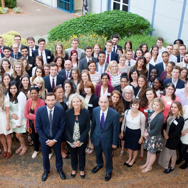 Josh MacAlister, Lord Adonis and Isabelle Trowler, with the 2015 Frontline intake. Photo: Frontline