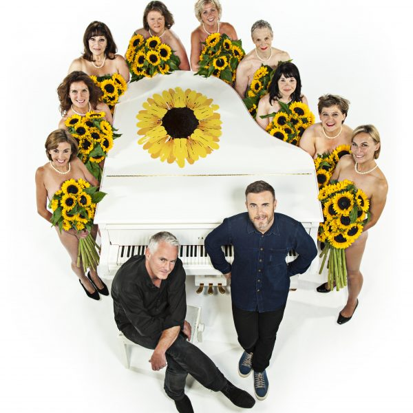 Gary Barlow, Tim Firth and the Calendar Girls. Photo: John Swannell