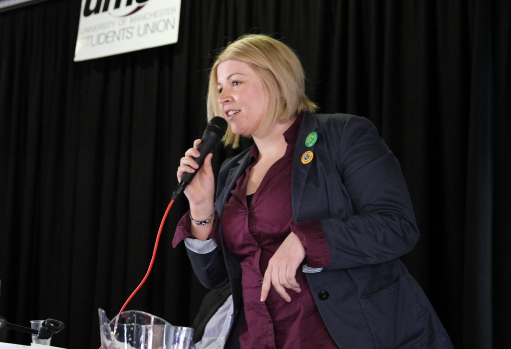 Gayle O'Donovan speaking at Manchester University prior to the general election