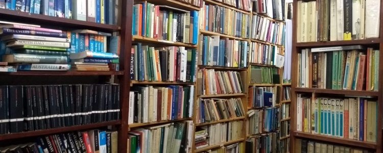 Photo of bookshelves in a secondhand bookshop