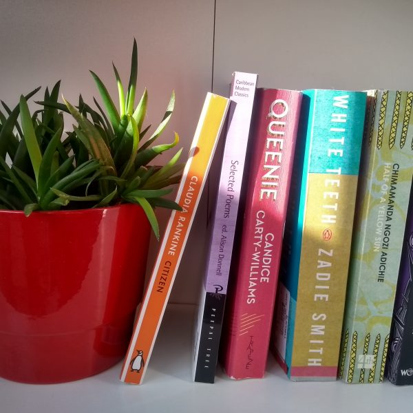 Photo of books by BAME authors on a bookshelf