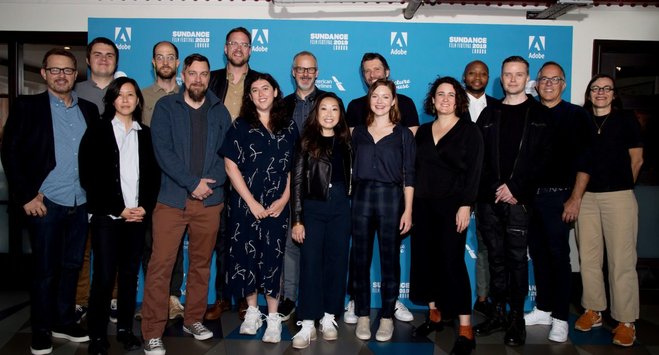 (L-R) Sundance Film Festival Senior Programmer, David Courier, Sundance Film Festival Director of Programming, Kim Yutani, director Daniel Scheinert, director Todd Douglas Miller, director Patrick Brice, director Alison Klayman, screenwriter Sam Bain, director Lulu Wang, director Bart Freundlich, Holliday Grainger, director Sophie Hyde, director Shola Amoo, Lucien Greaves, Sundance Film Festival Director, John Cooper and Joint Managing Director, Picturehouse Cinemas, Claire Binns attends The Filmmakers Photocall during The Sundance 2019 Film Festival London on 30th May 2019