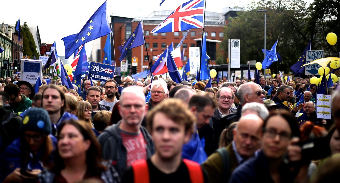 Manchester Brexit protest during 2017 Conservative conference @ Wikimedia Commons