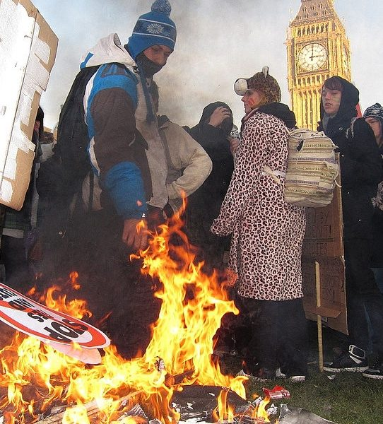Protesters in Parliament Square at the tuition fees demonstration last year.