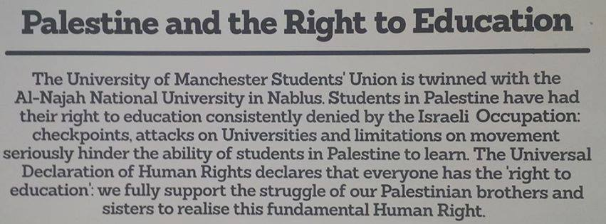 The Right to Education plaque which has now been moved following threats of legal action. Photo: the Mancunion