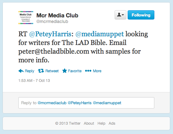 "The tweet promoted a vacancy at the ""well known misogynistic website"" LAD bible. Photo: Twitter"