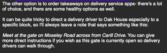 An e-mail containing advice on food and catering suggests isolating students can go out to meet take-away delivery drivers at the gate.