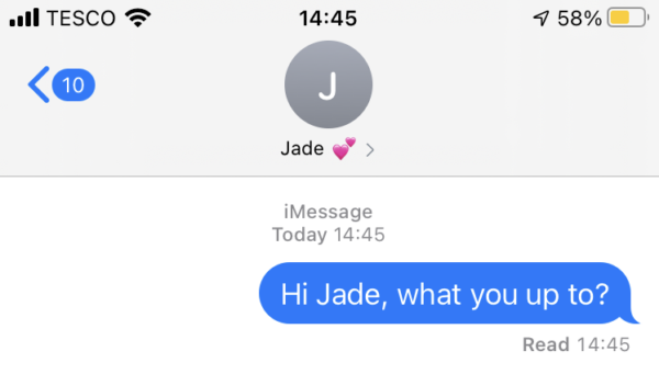 "Example text which reads "" Hi Jade, what are you up to?"""
