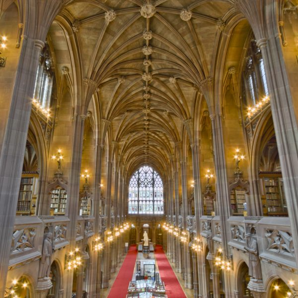 The John Rylands Library, which is part of Manchester University. Located in Manchester, Lancashire, England, UK. Photo: Mdbeckwith @Commons Wikimedia
