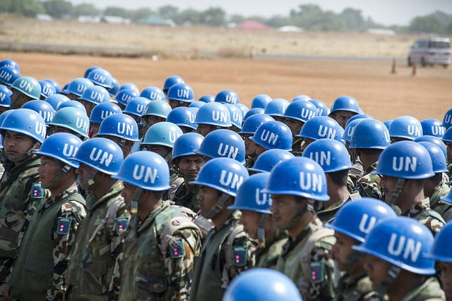 A contingent of UN Peacekeepers in South Sudan. We should be keeping the peace in Iraq and Syria too, argues Bruce Tang. Photo: United Nations @Flickr