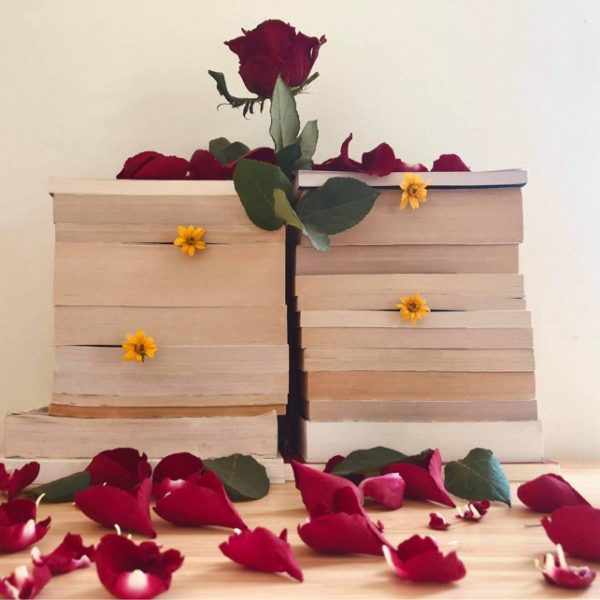 Valentine's Day book stack