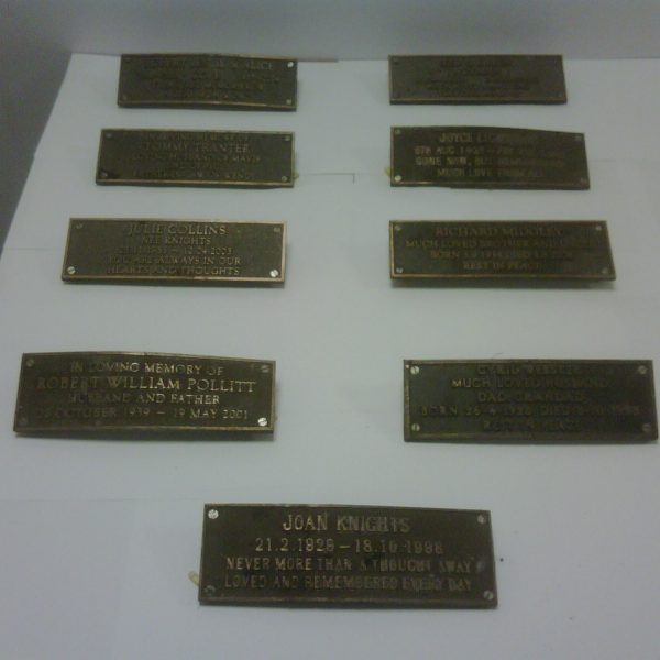 The nine recovered plaques: soaring prices have led to the recent increase in metal thefts in the UK.
