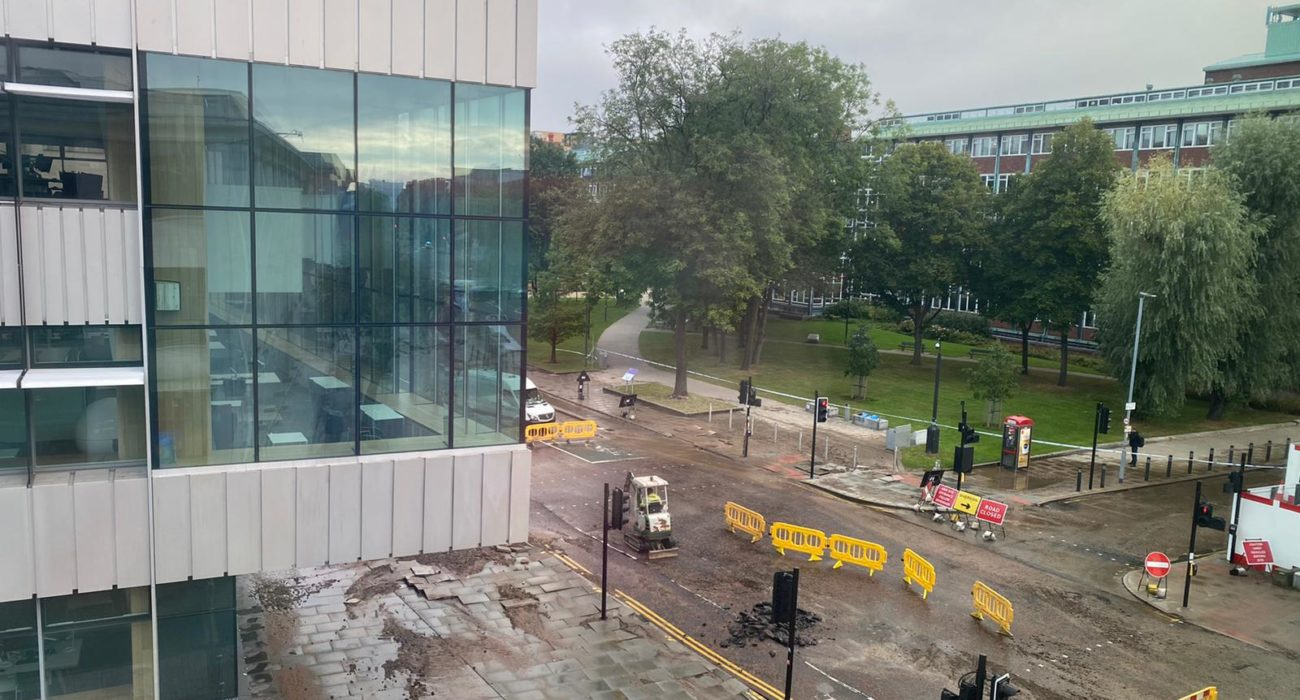 Flooding on Oxford Road at the University of Manchester