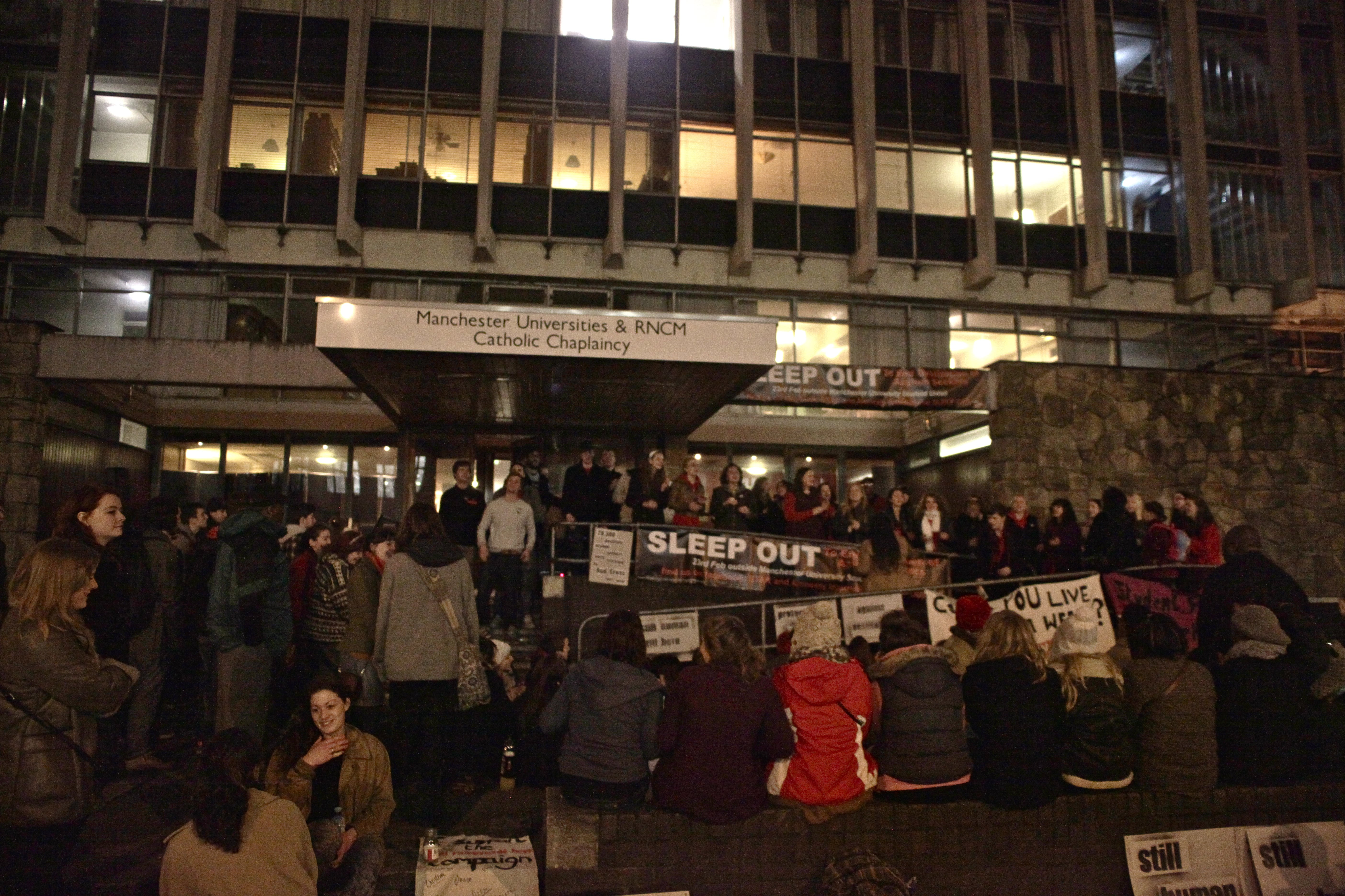Over 120 campaigners slept rough for the night to protest against the destitution faced by asylum seekers. Photo: NIck Whiting