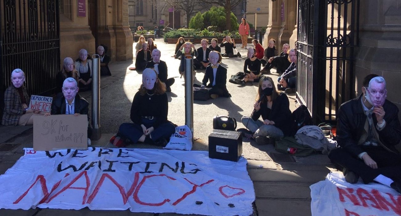 Nancy out sit-in protest