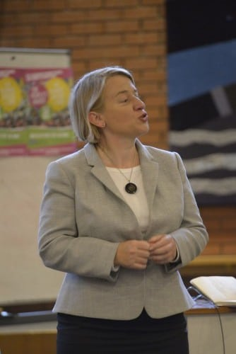 Natalie Bennett speaks to students in Manchester about climate change Photo: The Mancunion