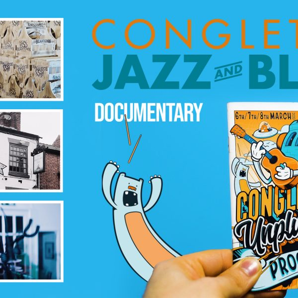 Poster graphic for congleton jazz and blues festival depicted amongst filmic shots