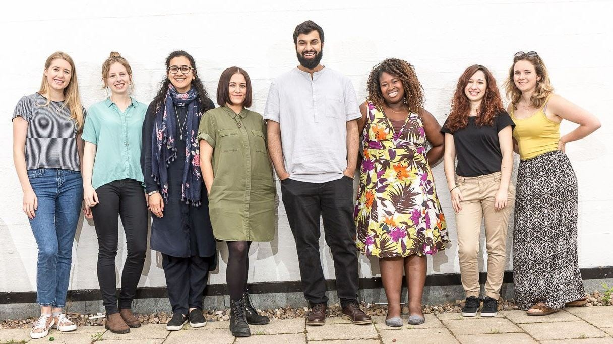 The exec team Left to right: Tamara, Emma, Saffa, Jenni, Ilyas, Naa, Izzy, Sorcha. Photo: University of Manchester Students' Union.