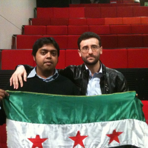 Manchester student Haytham Al-Hamwi's (right) was overjoyed with news of his father's release from Syrian custody. Photo: Omar Nasif