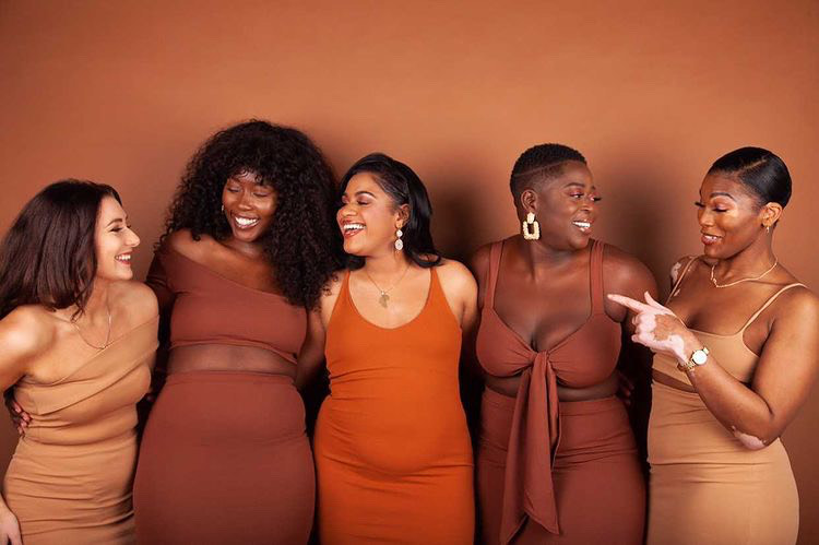 Women of colour wearing Sincerely Nude range of inclusive nude clothing