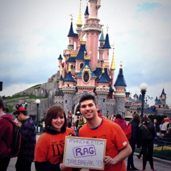 Team Mem & Em pose in Disneyland - a world away from Chained For Charity's Scottish experience. Photo: Manchester RAG