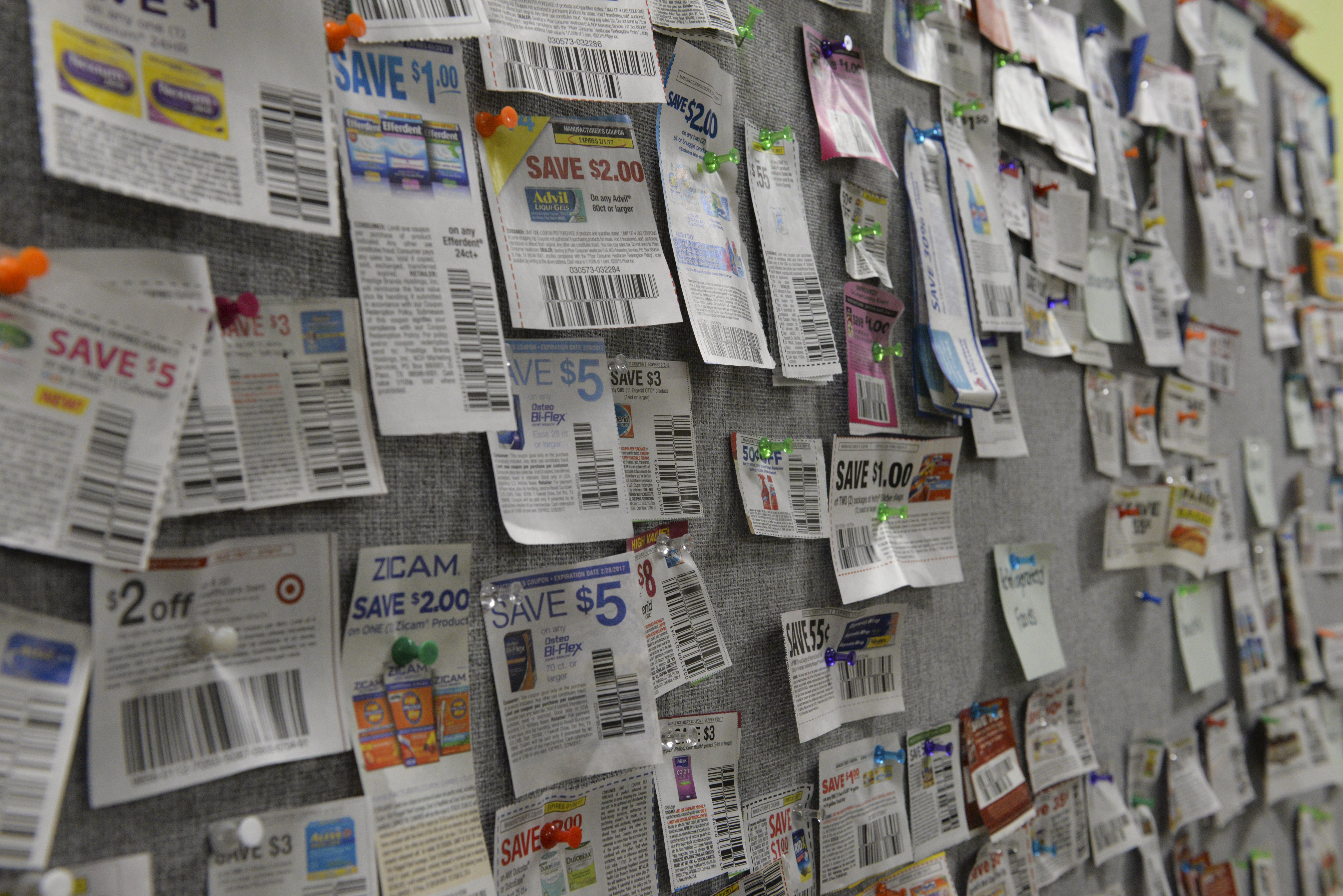 Photo: Kyleen Considine.Recipes and coupons — other money-saving options — dangle from the Pitt Pantry's ceiling and fill up a tack board on the wall